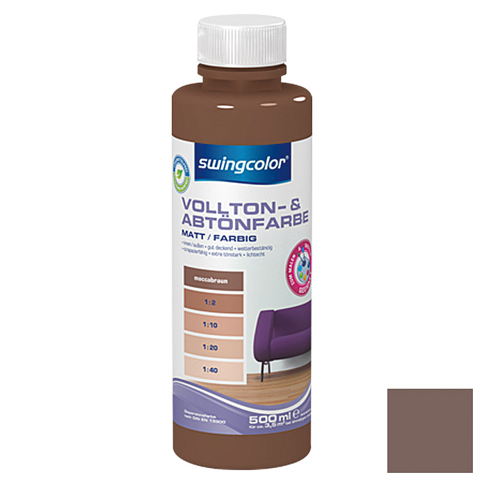 swingcolor Vollton- & Abtönfarbe  (Moccabraun, 500 ml)