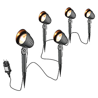 Starlux LED-Gartenspot-Set Bari (3-flammig, 4 W, IP44, Schwarz)