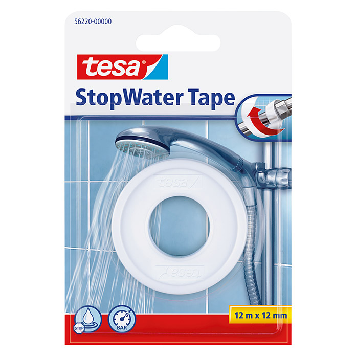 Tesa Cinta Stop Water (Blanco, 12 m x 12 mm)