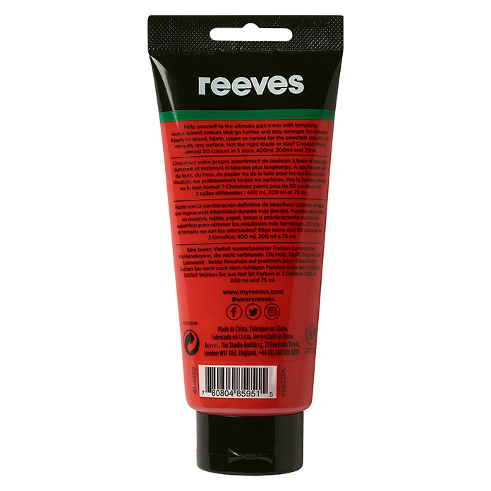 Reeves Acrylfarbe (Zinnoberrot, 200 ml, Tube)