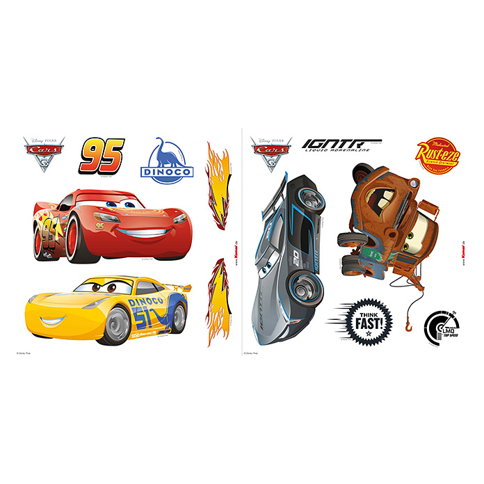Komar Disney Edition 4 Fenstersticker Cars (Disney Cars, Bunt, 31 x 31 cm) -