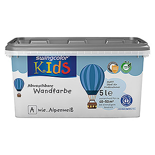 swingcolor KIDS Wandfarbe (Alpenweiß, 5 l, Matt)