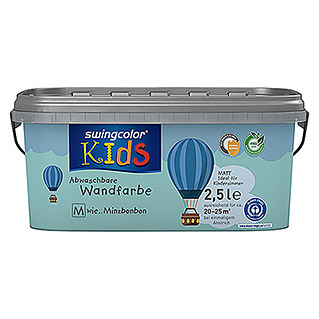 swingcolor KIDS Wandfarbe (Minzbonbon, 2,5 l, Matt)