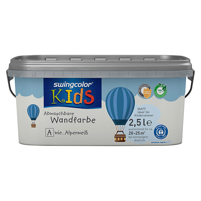 Swingcolor KIDS Wandfarbe (Alpenweiß, 2,5 L, Matt)