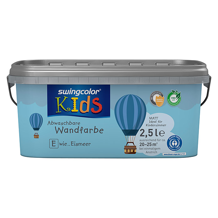 swingcolor KIDS Wandfarbe (Eismeer, 2,5 l, Matt)