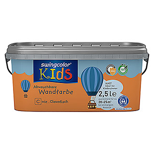 swingcolor KIDS Wandfarbe (Clownfisch, 2,5 l, Matt)