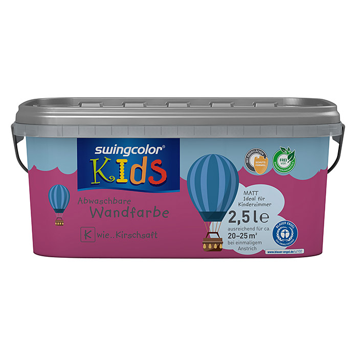 swingcolor KIDS Wandfarbe (Kirschsaft, 2,5 l, Matt)
