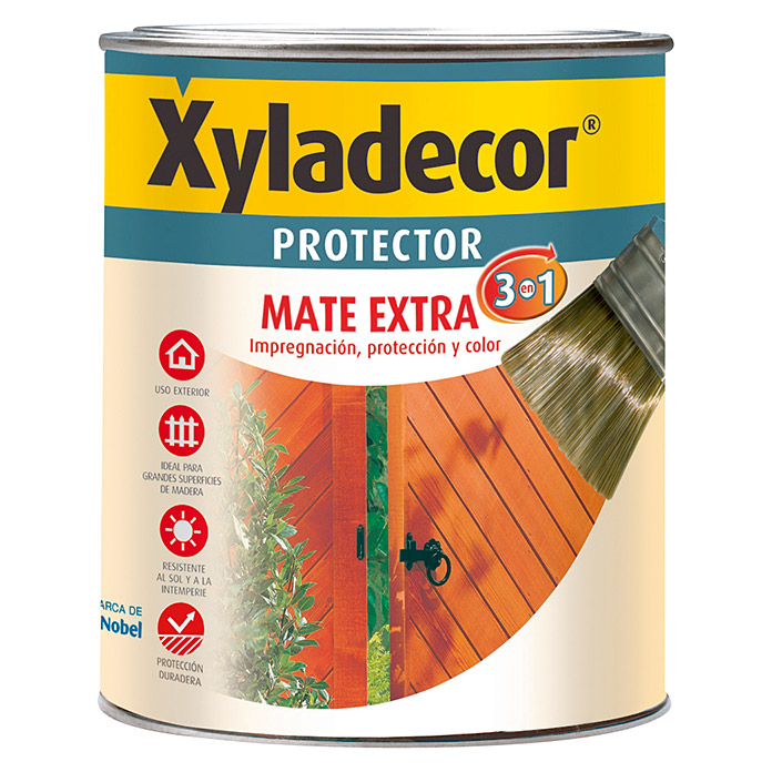 Xyladecor Protector para madera Mate Extra 3 en 1 (Nogal, 750 ml)