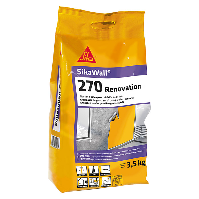 Sika Plaste SIkawall-270 Renovation  (Blanco, 3,5 kg)