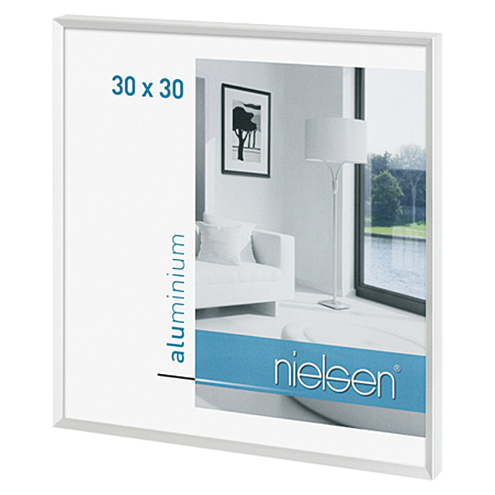nielsen bilderrahmen pixel wei 30 x 30 cm aluminium gl nzend bauhaus. Black Bedroom Furniture Sets. Home Design Ideas