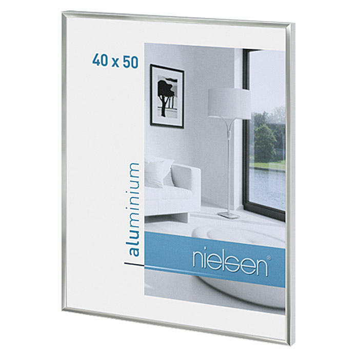 nielsen bilderrahmen pixel silber 40 x 50 cm aluminium gl nzend bauhaus. Black Bedroom Furniture Sets. Home Design Ideas