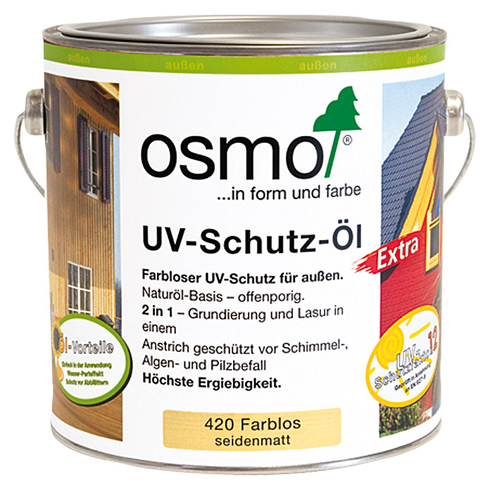 osmo uv schutz l extra seidenmatt 420 750 ml farblos bauhaus sterreich. Black Bedroom Furniture Sets. Home Design Ideas