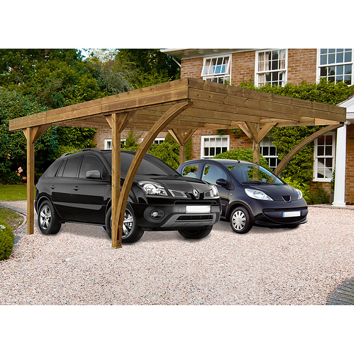 Forest style carport doble harold x mm for Carpas jardin alcampo