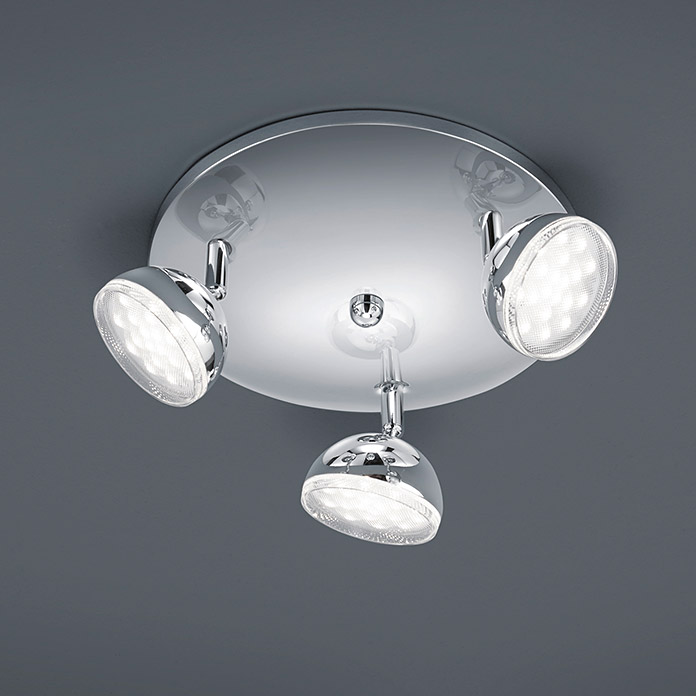 Trio Lighting Plafón LED Bolou  (Color de luz: Blanco cálido, 250 x 250 mm, Color: Cromo)