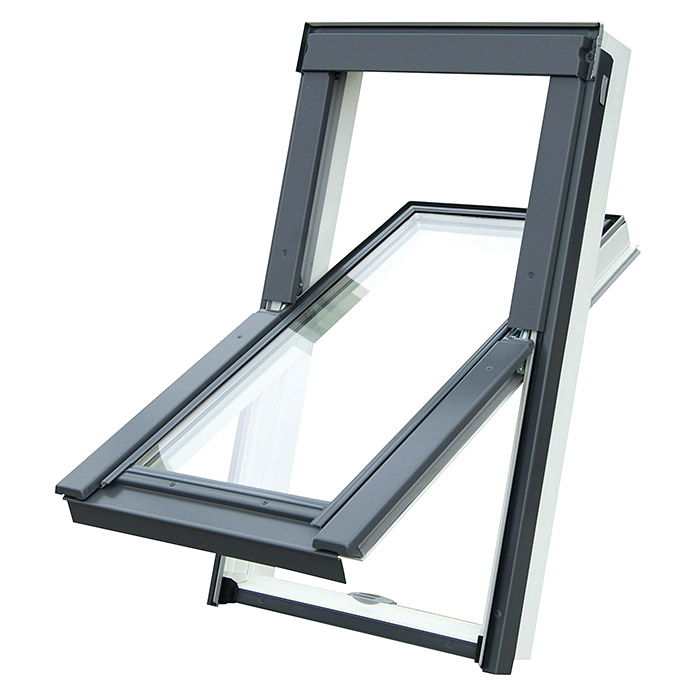 Solid Elements Pro Dachfenster (B x H: 78 mm x 117,8 cm, Kunststoff, Grau/Anthrazit)