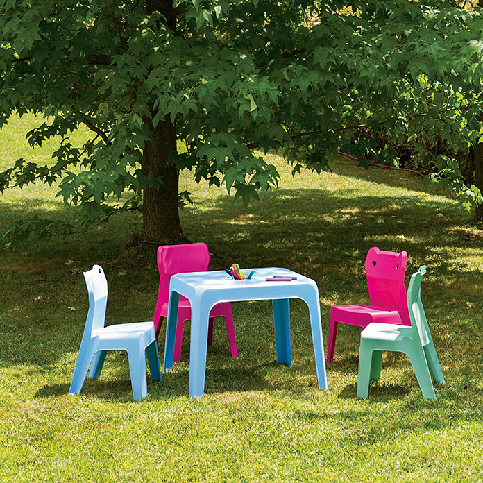 Silla apilable para ni os jan fucsia ancho 38 6 cm for Sillas jardin bauhaus