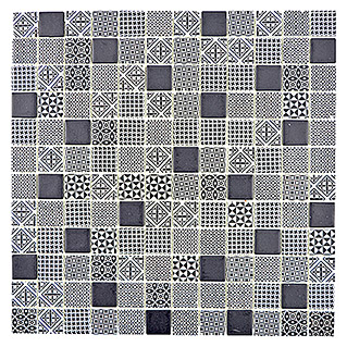Mosaikfliese Quadrat Eco Mix PATCH 90 (31,5 x 31,5 cm, Grau/Schwarz, Matt)