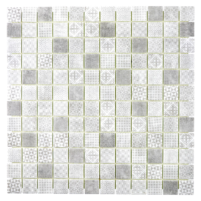 Mosaikfliese Quadrat Eco Mix PATCH 80 (31,5 x 31,5 cm, Grau, Matt)
