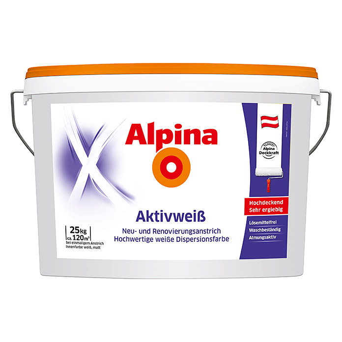 Alpina Dispersionsfarbe Aktivweiß (Matt, 25 kg, Weiß)