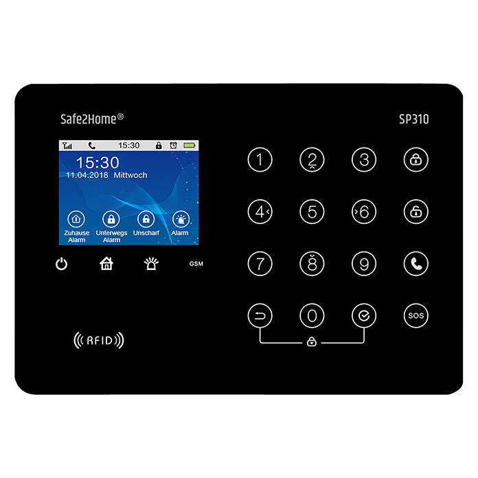 Safe2Home Alarmanlagen-Set Profi Serie SP310 (9-tlg., L x B x H: 195 x 136 x 31 mm)