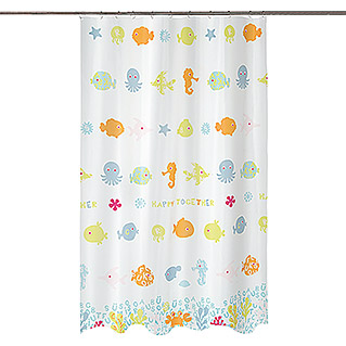 Spirella Cortina de baño textil Happy Fish (An x Al: 180 x 200 cm, Multicolor)