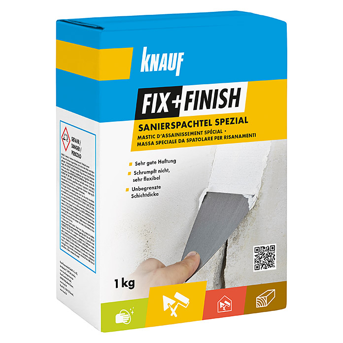 Knauf Fix+Finish Spachtelmasse Sanierspachtel Spezial (1 kg) -