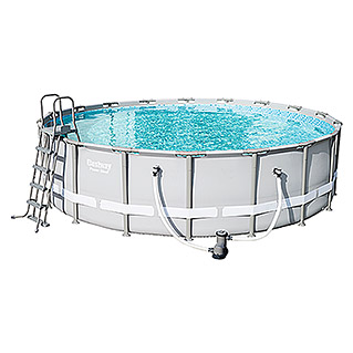 Bestway Poolset Power Steel (Ø x H: 5,49 x 1,32 m, 26.000 l, Grau)