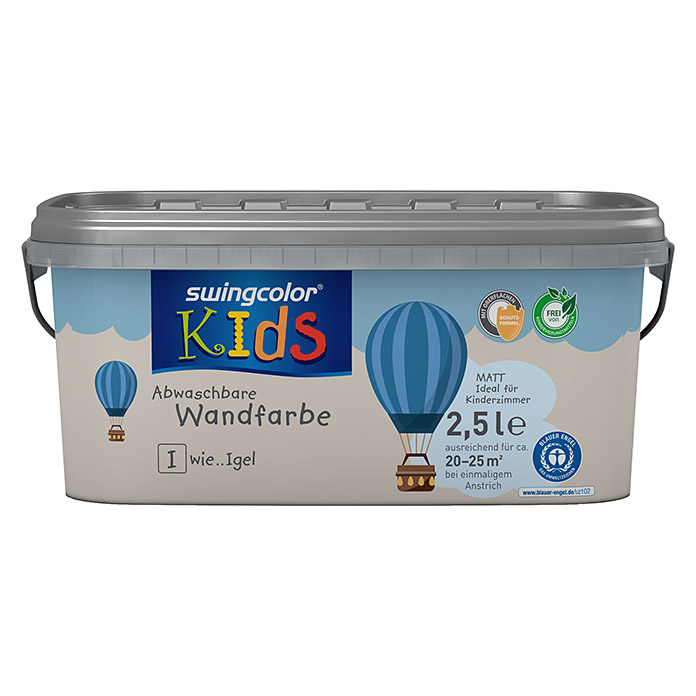 swingcolor KIDS Wandfarbe (Igel, 2,5 l, Matt) -