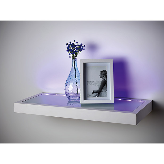 Wandregal (L x B x H: 58 x 25 x 4,7 cm, LED-Leiste)
