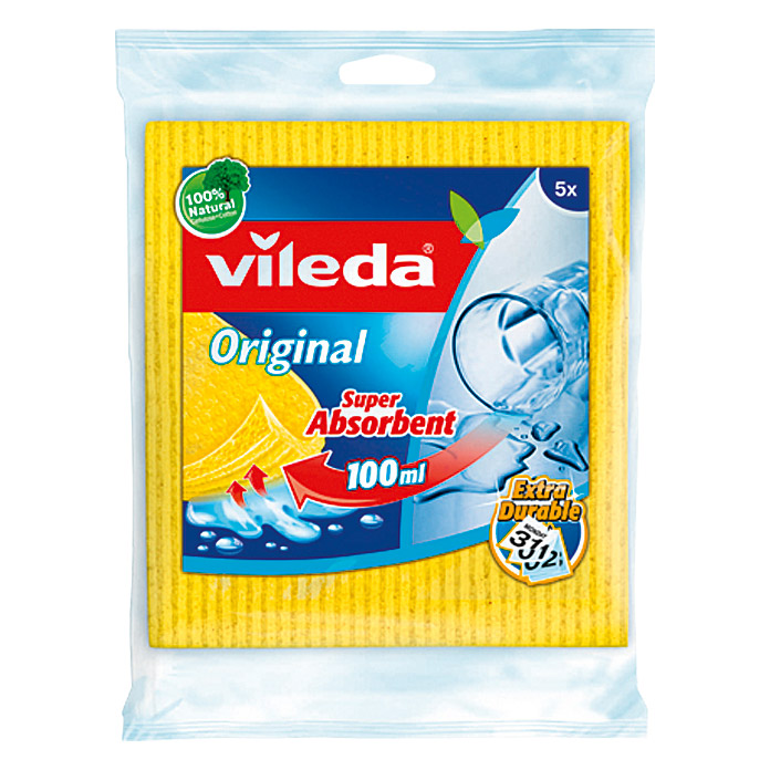 Vileda Schwammtuch Original (Cellulose + Cutton 100 %, 5 Stk.)