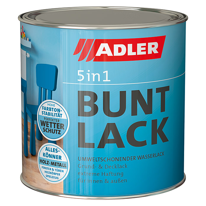 Adler Buntlack 5 in 1  (Moosgrün, 2,5 l, Matt)