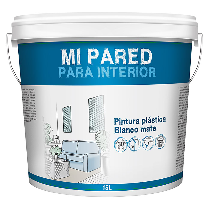 Pintura para paredes Mi pared Interior (Blanco, 15 l, Mate)