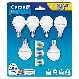 Garza Bombilla LED Pack de 6 (6 W, Blanco neutro)