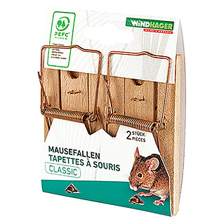 Windhager Mausefalle Classic Wood (Schlagfalle, Holz, 2 Stk.)