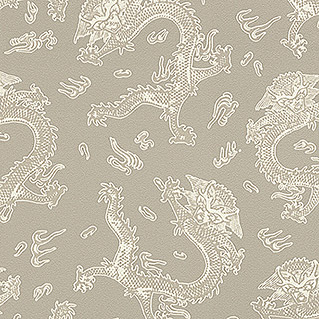 Barbara Home Collection Vliestapete Drachen (Creme/Taupe, 10,05 x 0,53 m)