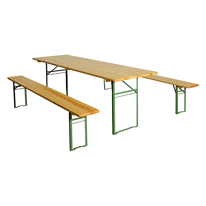 Conjunto plegable de mesa y bancos (3 piezas, L. × an.: 220 × 70 cm, Color natural/verde)