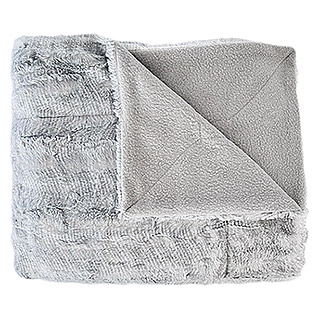 Plaid Pelo estampado (130 x 160 cm, Gris, Rectangular)