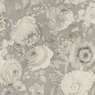 Barbara Home Collection Vliestapete Floral I (Grau, Floral, 10,05 x 0,53 m)