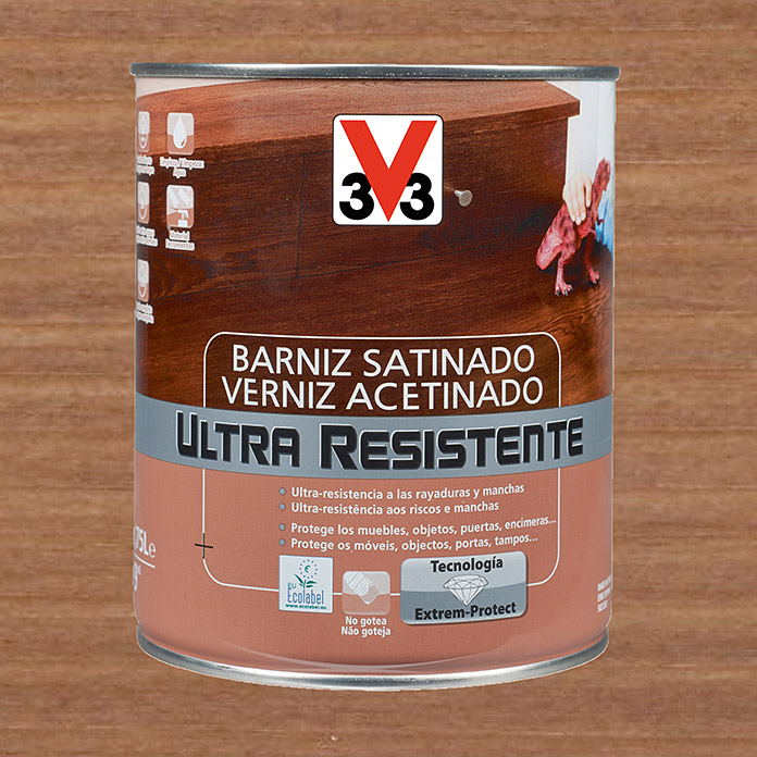 V33 Barniz Ultra resistente (Nogal, 750 ml, Satinado)