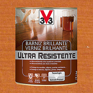 V33 Barniz para madera Brillante Ultra Resistente (Cerezo, Brillante, 750 ml)