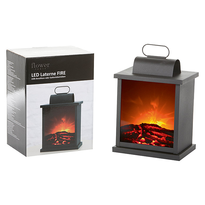Flower Power LED-Laterne Fire Big (L x B x H: 22 x 16 x 30 cm, Schwarz)
