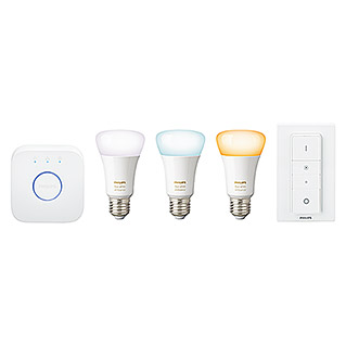 Philips Hue Set de iluminación LED Pack de 3 (9,5 W, E27, Temperatura de color ajustable, Intensidad regulable)