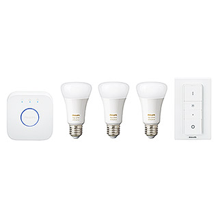 Philips Hue LED-Leuchtmittel-Set Starter Kit (9,5 W, E27, Einstellbare Farbtemperatur, Dimmbar)