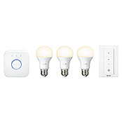 Philips Hue LED-Leuchtmittel-Set Starter Kit (9 W, E27, Lichtfarbe: Warmweiß, Dimmbar)