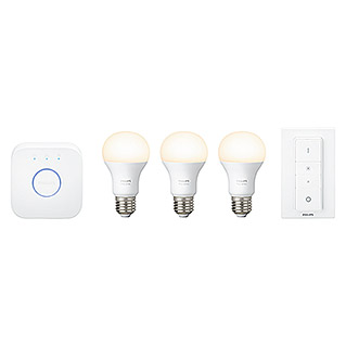 Philips Hue LED-Leuchtmittel-Set Starter Kit (9 W, E27, Warmweiß, Dimmbar)