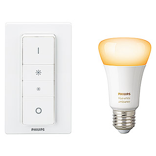 Philips Hue Set de iluminación LED con Mando a Distancia (10,5 W, E27, Temperatura de color ajustable, Intensidad regulable, 1 ud.)