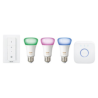 Philips Hue Set de iluminación LED Kit con mando a distancia (10 W, E27, RGBW, Temperatura de color ajustable)