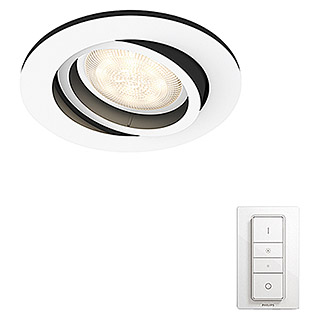 Philips Hue Foco LED empotrable Milliskins (5,5 W, Color de luz: Blanco, Diámetro: 9 cm, Blanco)