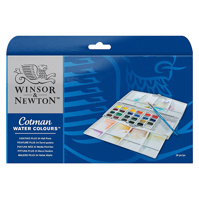 Winsor & Newton Cotman Aquarellfarben-Set Painting Plus (24 x ½ Näpfchen) -