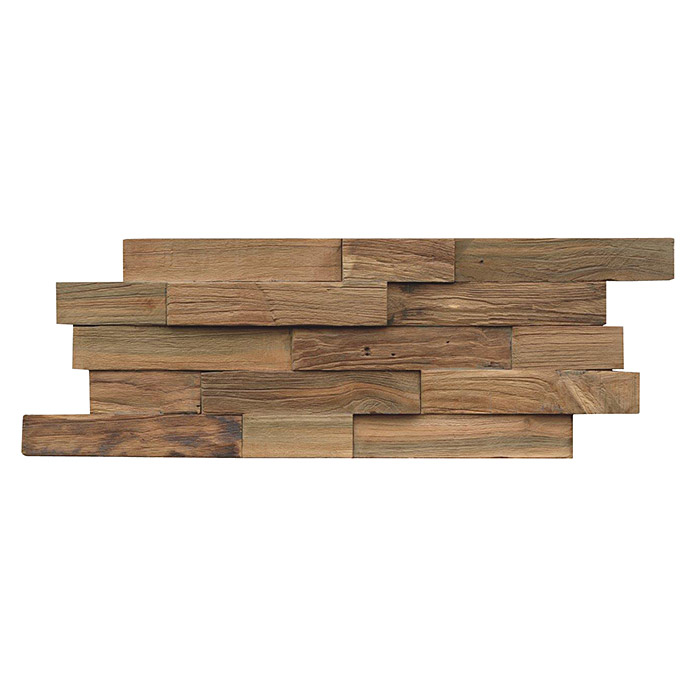 Indo Holzpaneele 3D Wall Nature (Teak, 500 x 200 x 10 mm, 10 Paneele) -